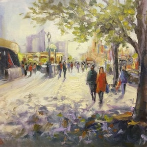 (CreativeWork) Spring morning light in Melbourne  by Ivana Pinaffo. Oil Paint. Shop online at Bluethumb.