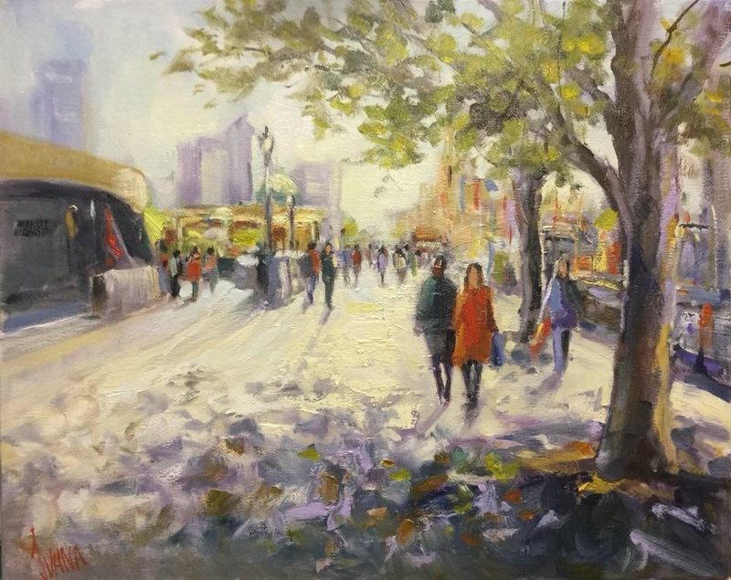 (CreativeWork) Spring morning light in Melbourne  by Ivana Pinaffo. oil-painting. Shop online at Bluethumb.