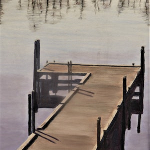 (CreativeWork) The Jetty by Robin Tunnicliffe. oil-painting. Shop online at Bluethumb.