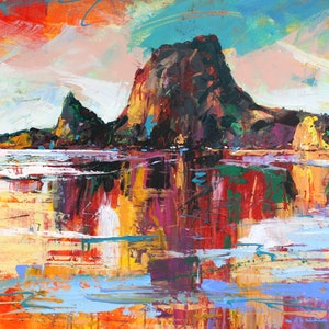 (CreativeWork) Lion Rock Piha, New Zealand by Jos Coufreur. arcylic-painting. Shop online at Bluethumb.