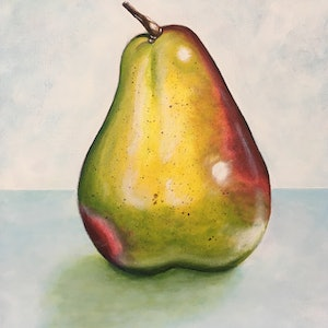 (CreativeWork) A Nice Pear by Rhonda Bryars. arcylic-painting. Shop online at Bluethumb.