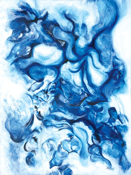 (CreativeWork) Blue Tide by Jess King. arcylic-painting. Shop online at Bluethumb.
