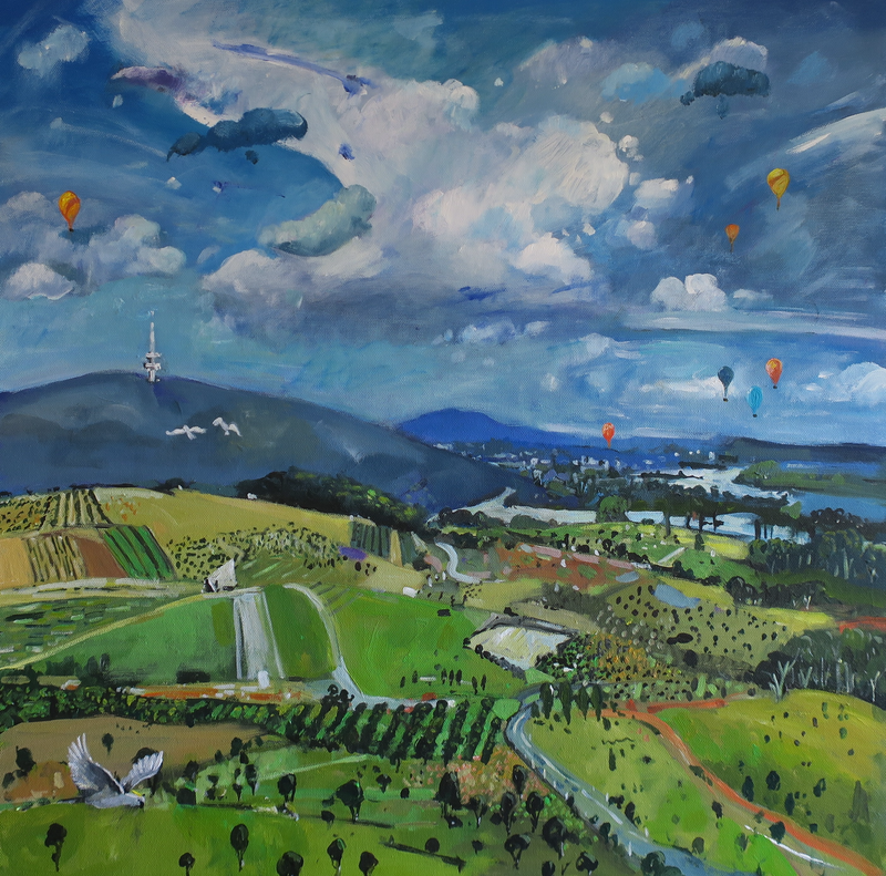 (CreativeWork) Black Mountain and Balloons by Susan Trudinger. arcylic-painting. Shop online at Bluethumb.