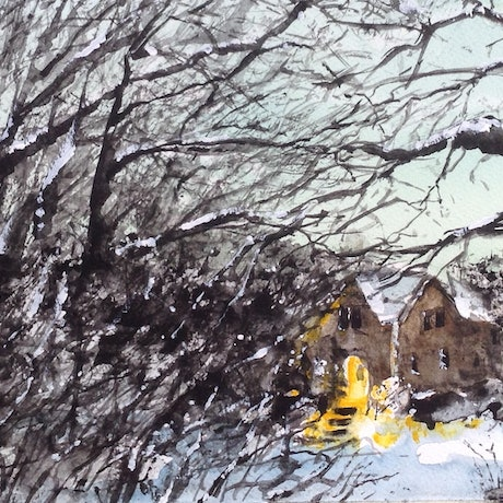 (CreativeWork) Waiting in the Woods by Bernd Rieve. Watercolour Paint. Shop online at Bluethumb.