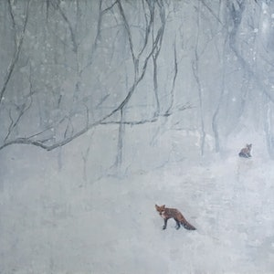 (CreativeWork) Snow Fox Wood by Josh Honeyman. arcylic-painting. Shop online at Bluethumb.