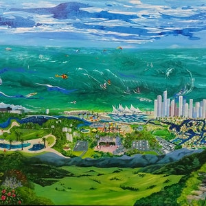 (CreativeWork) Brisbane to Byron - a Bird's Eye View by Rosemary Williamson. arcylic-painting. Shop online at Bluethumb.