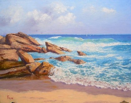 (CreativeWork) Waves and rocks, Port Stephens, NSW by Kith Gunawardane. oil-painting. Shop online at Bluethumb.