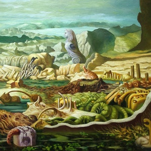 (CreativeWork) ROCK POOLS by Elizabeth Barsham. oil-painting. Shop online at Bluethumb.