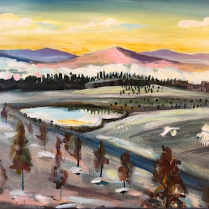 (CreativeWork) Chilly Winter Morning at the Arboretum by Valentyna Crane. arcylic-painting. Shop online at Bluethumb.