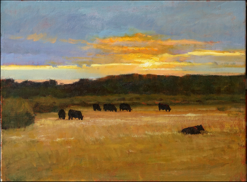 (CreativeWork) Sunset pasture 2017 by Yuan Fu. oil-painting. Shop online at Bluethumb.