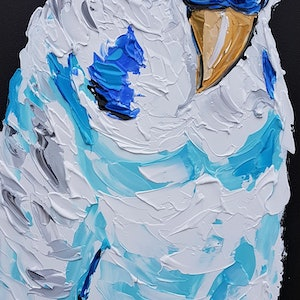 (CreativeWork) Pied Budgie by Lisa Fahey. arcylic-painting. Shop online at Bluethumb.