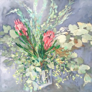 (CreativeWork) Proteas and Eucalyptus 2 by Meredith Howse. oil-painting. Shop online at Bluethumb.