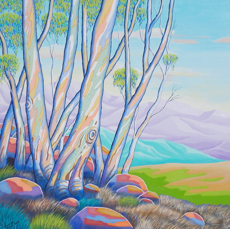 (CreativeWork) GUM GROVE 2 by Saadah Kent. arcylic-painting. Shop online at Bluethumb.