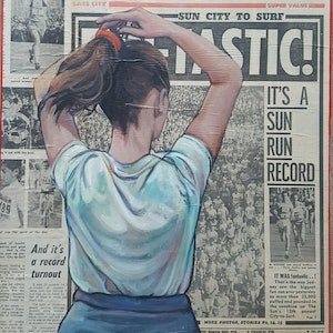 (CreativeWork) Number 1982 - sport run city to surf by Sherry McCourt. oil-painting. Shop online at Bluethumb.