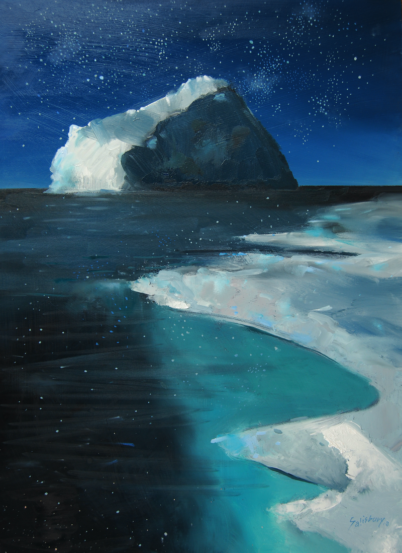 (CreativeWork) The sound of stars and ice by Trevor Salisbury. oil-painting. Shop online at Bluethumb.
