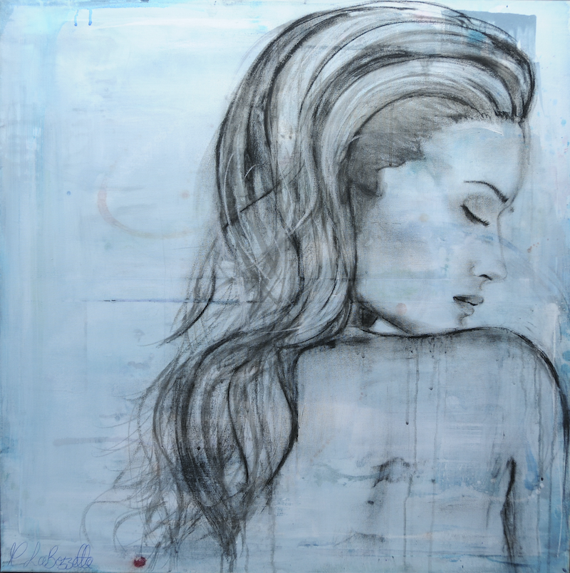 (CreativeWork) Beautiful Rosie in Blue by Melissa La Bozzetta. mixed-media. Shop online at Bluethumb.