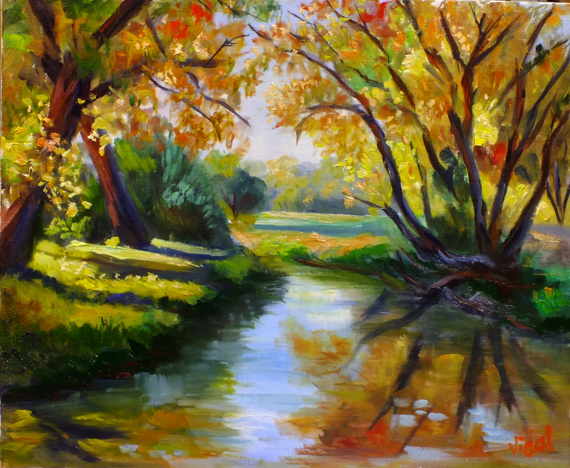(CreativeWork) original oil painting- Autumn Colours by Christopher Vidal. oil-painting. Shop online at Bluethumb.