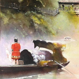 (CreativeWork) red woman on river boat by peter smart. watercolour. Shop online at Bluethumb.
