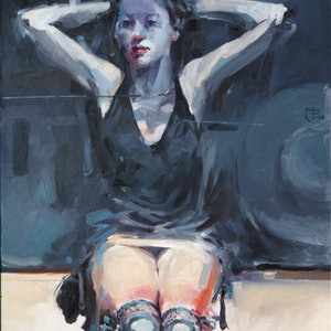 (CreativeWork) Lady with Garters by Tony Belobrajdic. oil-painting. Shop online at Bluethumb.