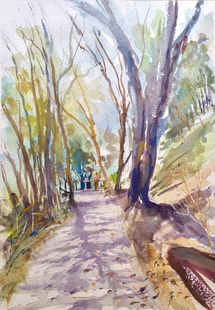 (CreativeWork) Coastal Walk, Noosa National Park , Queensland . by Geoff Stanistreet. watercolour. Shop online at Bluethumb.