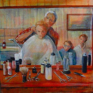 (CreativeWork) Click go the shears boys by Sue Hill. arcylic-painting. Shop online at Bluethumb.