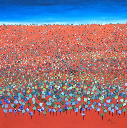 (CreativeWork) Forest of colours by Ron Brown. arcylic-painting. Shop online at Bluethumb.