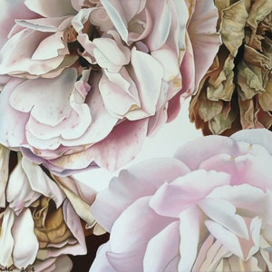 (CreativeWork) fading roses by Claire Souter. oil-painting. Shop online at Bluethumb.