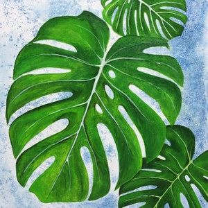 (CreativeWork) Monstera Leaves Diptych (Set of 2) by Jess King. acrylic-painting. Shop online at Bluethumb.