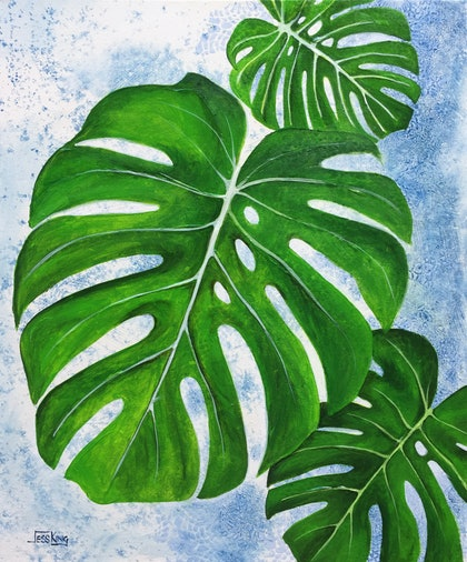 (CreativeWork) Monstera Leaves Diptych (Set of 2) by Jess King. arcylic-painting. Shop online at Bluethumb.
