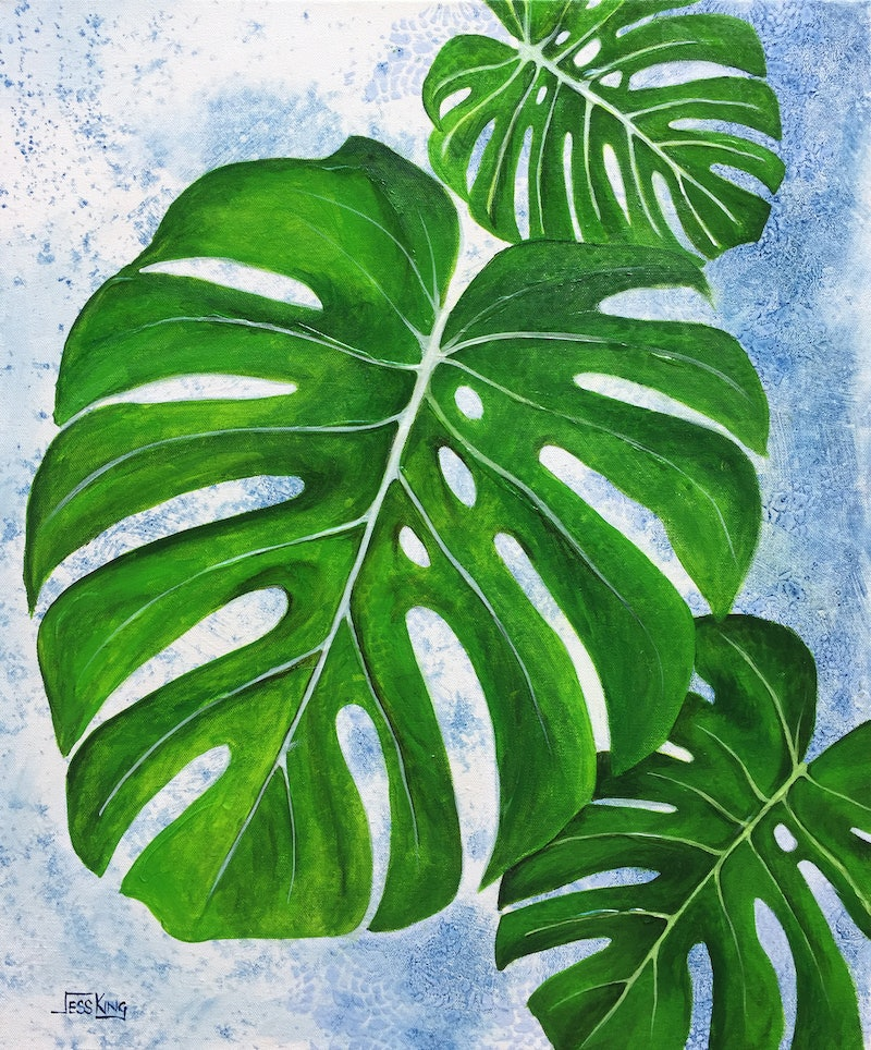 monstera leaves diptych set of 2 by jess king paintings for sale bluethumb online art gallery. Black Bedroom Furniture Sets. Home Design Ideas