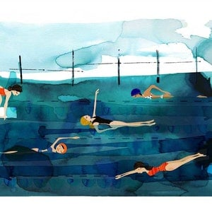 (CreativeWork) Deep Pool Ed. 10 of 100 by Gill Cameron  - Line for a Walk. print. Shop online at Bluethumb.