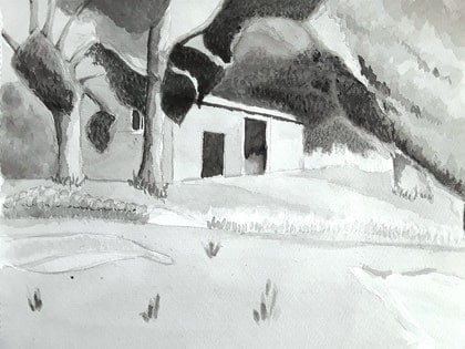 (CreativeWork) The Farm Shed  by MIchelle Thompson. drawing. Shop online at Bluethumb.