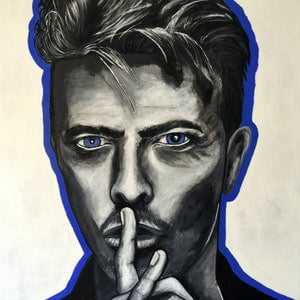 (CreativeWork) David Bowie 1 by Heather Cleland. arcylic-painting. Shop online at Bluethumb.