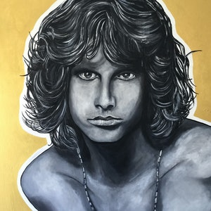 (CreativeWork) Jim Morrison 1 by Heather Cleland. arcylic-painting. Shop online at Bluethumb.