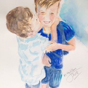 (CreativeWork) The Siblings' Kiss by Michael Giddens. watercolour. Shop online at Bluethumb.