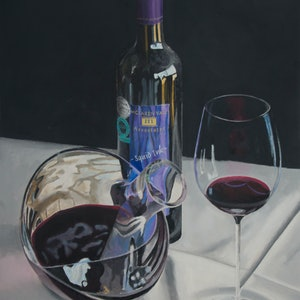 (CreativeWork) Squid Ink Shiraz by Rob Kennedy. oil-painting. Shop online at Bluethumb.