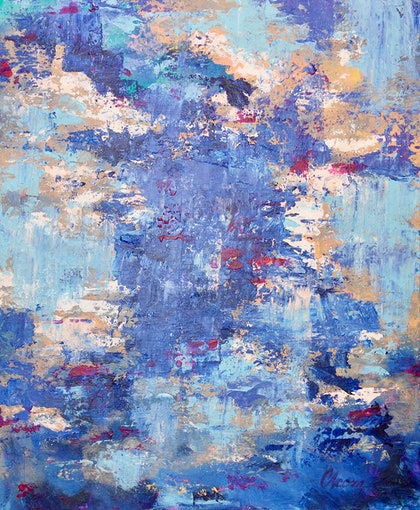 (CreativeWork) Cloudy Reflections by Cory Acorn. arcylic-painting. Shop online at Bluethumb.