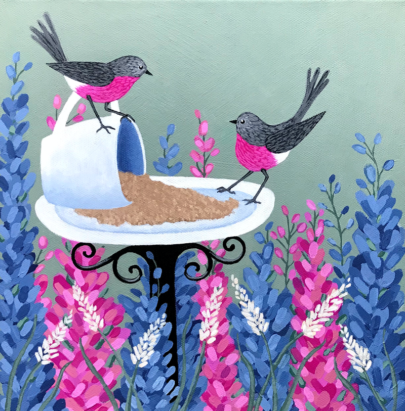 (CreativeWork) Rose Robins In My Garden by Lisa Frances Judd. arcylic-painting. Shop online at Bluethumb.