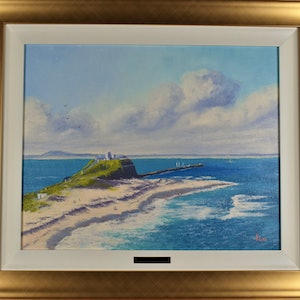 (CreativeWork) Fort Scratchley, Newcastle by Kith Gunawardane. oil-painting. Shop online at Bluethumb.
