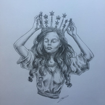 (CreativeWork) You can be king again by Megan Pears. drawing. Shop online at Bluethumb.
