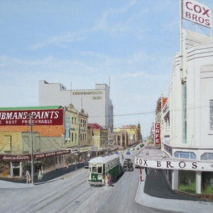 (CreativeWork) Cox Bros Corner, Elizabeth St, Hobart c.1958 by Michael Bessell. oil-painting. Shop online at Bluethumb.