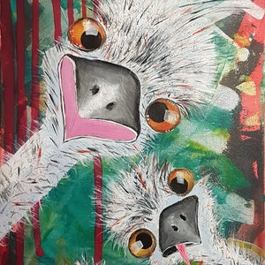 (CreativeWork) Trio of cheeky (aka Tommy, Lucy and Zuzu) by Kat Schmitt. arcylic-painting. Shop online at Bluethumb.