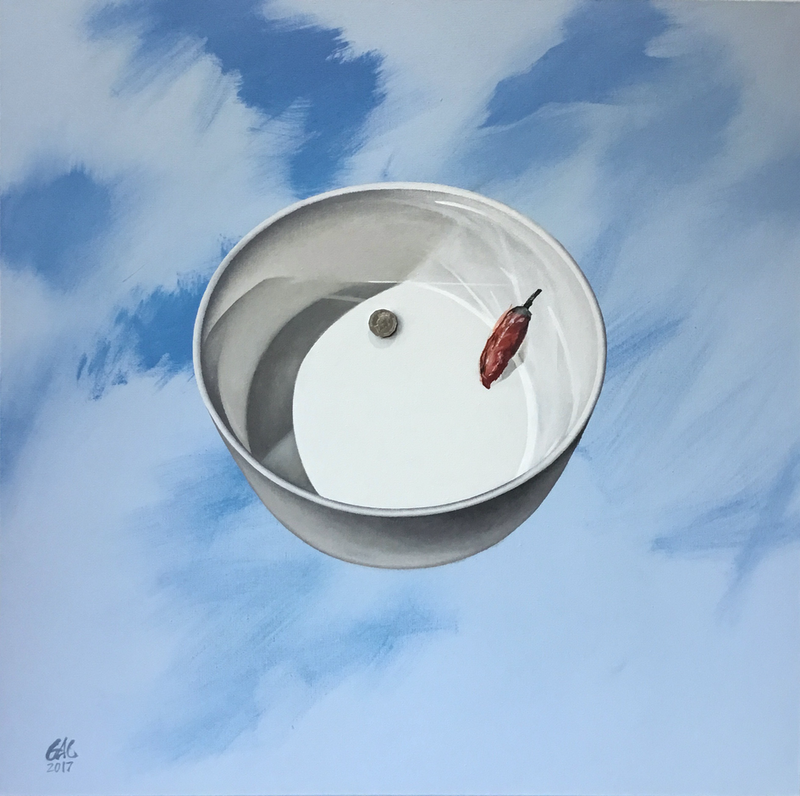 (CreativeWork) Bowl, Fifty Cents and a Chilli by Geoff Coleman. Acrylic Paint. Shop online at Bluethumb.