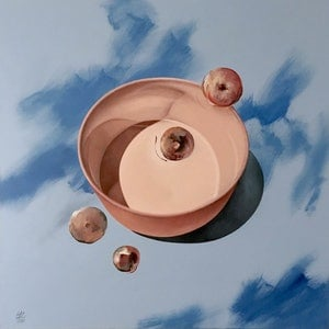 (CreativeWork) Unstill Life Bowl and Fruit by Geoff Coleman. arcylic-painting. Shop online at Bluethumb.