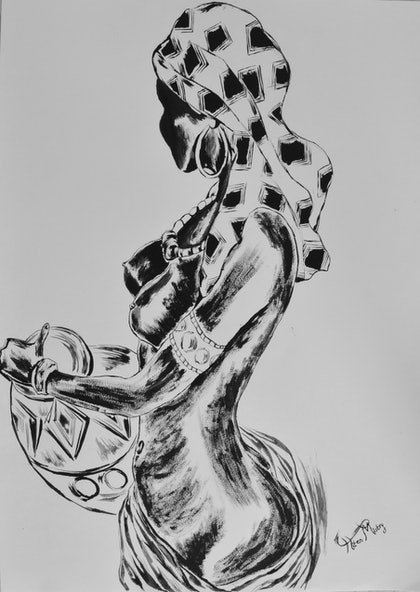(CreativeWork) Zambian figure by Hiten Mistry. arcylic-painting. Shop online at Bluethumb.