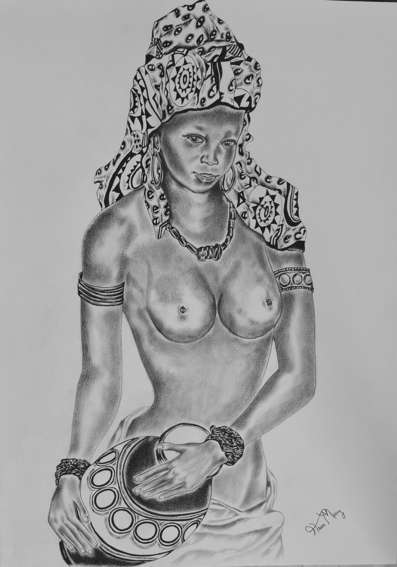 (CreativeWork) traditional nude by Hiten Mistry. drawing. Shop online at Bluethumb.