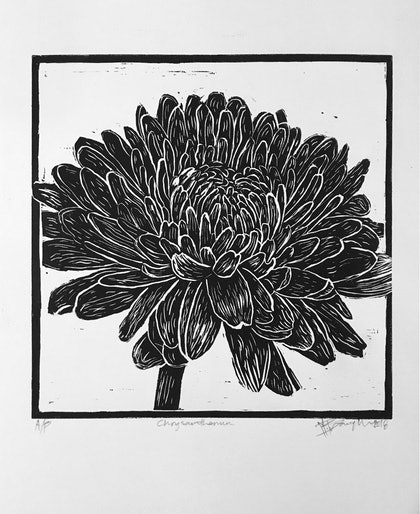Chrysanthemum flower- lino cut print Ed. 1 of 20