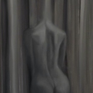 (CreativeWork) greyscale nude num.1 by Jamie-lee Marks. oil-painting. Shop online at Bluethumb.