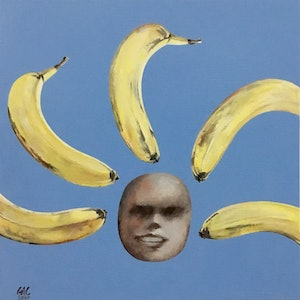 (CreativeWork) Banana Lady by Geoff Coleman. arcylic-painting. Shop online at Bluethumb.