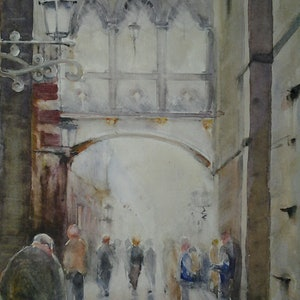 (CreativeWork) people under walkway by peter smart. watercolour. Shop online at Bluethumb.